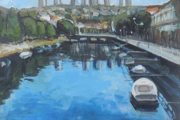 dijana lukic umjetnicki radovi slikarstvo i kiparstvo rijeka kategorija pejzazi brodovi krovovi reljefi luka brodice plavo neboderi