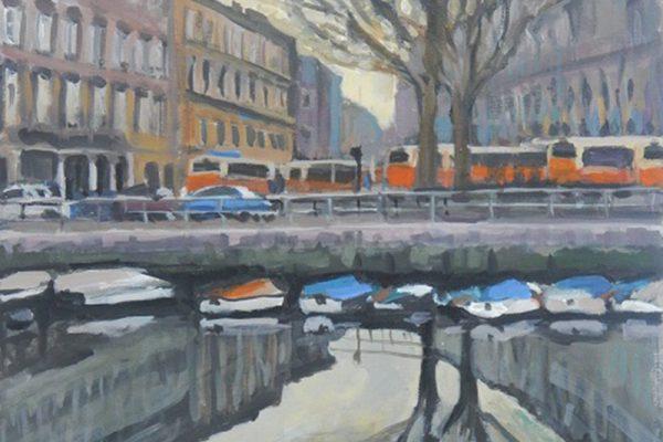 dijana lukic umjetnicki radovi slikarstvo i kiparstvo rijeka kategorija pejzazi brodovi krovovi reljefi most heroja odsjaj u vodi mrtvi kanal rijecki autobusi