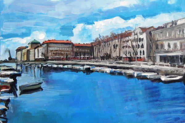 dijana lukic umjetnicki radovi slikarstvo i kiparstvo rijeka kategorija pejzazi brodovi krovovi reljefi pogled na rijeku s lukobrana